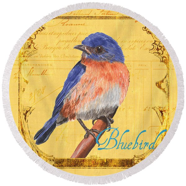 Colorful Songbirds 1 Round Beach Towel