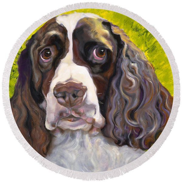 Spaniel The Eyes Have It Round Beach Towel
