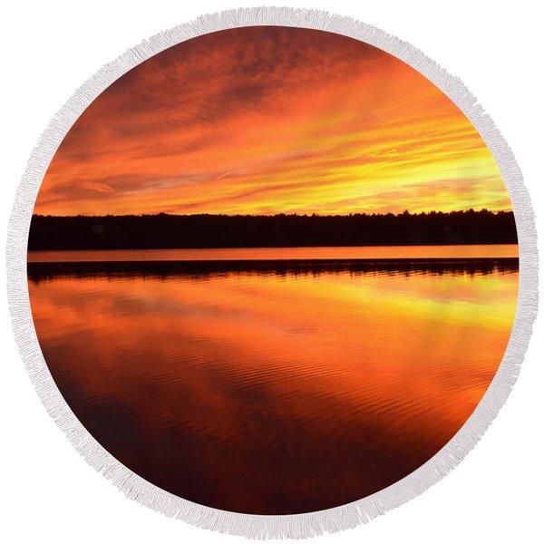 Spectacular Orange Mirror Round Beach Towel