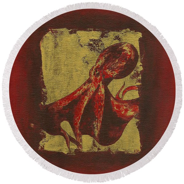 Spotted Red Octopus Round Beach Towel