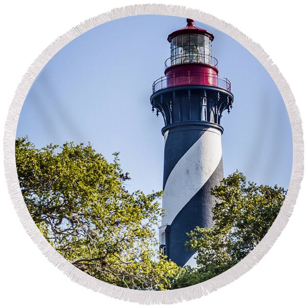 Round Beach Towel featuring the photograph St. Augustine Lighthouse by Carolyn Marshall