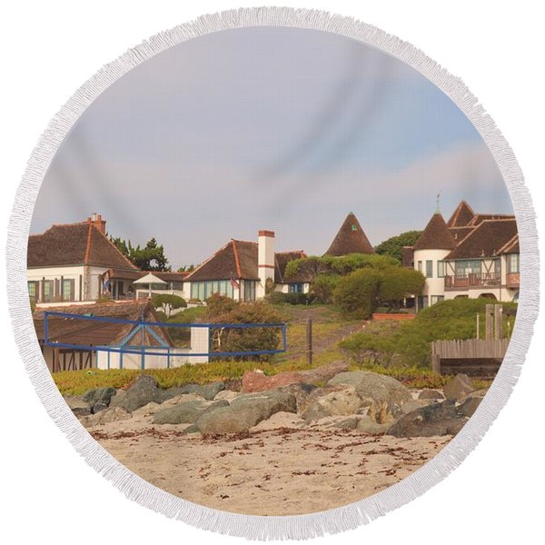 Round Beach Towel featuring the photograph St. Malo Beach by Laurie Lundquist