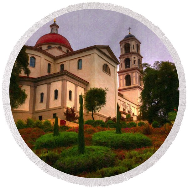 St. Thomas Aquinas Church Large Canvas Art, Canvas Print, Large Art, Large Wall Decor, Home Decor Round Beach Towel