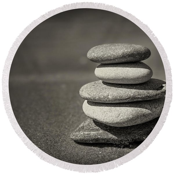 Stacked Pebbles On Beach Round Beach Towel