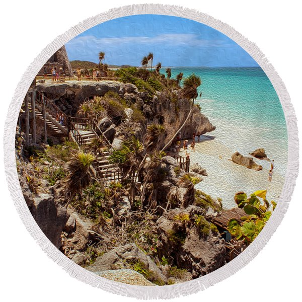 Stairway To The Tulum Beach  Round Beach Towel