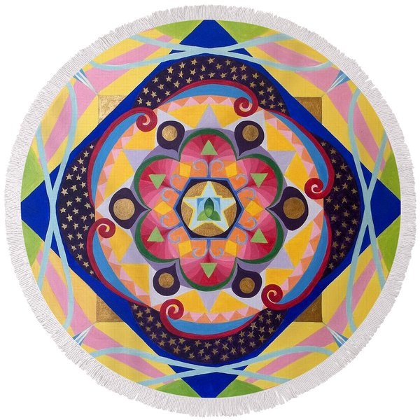 Star Mandala Round Beach Towel
