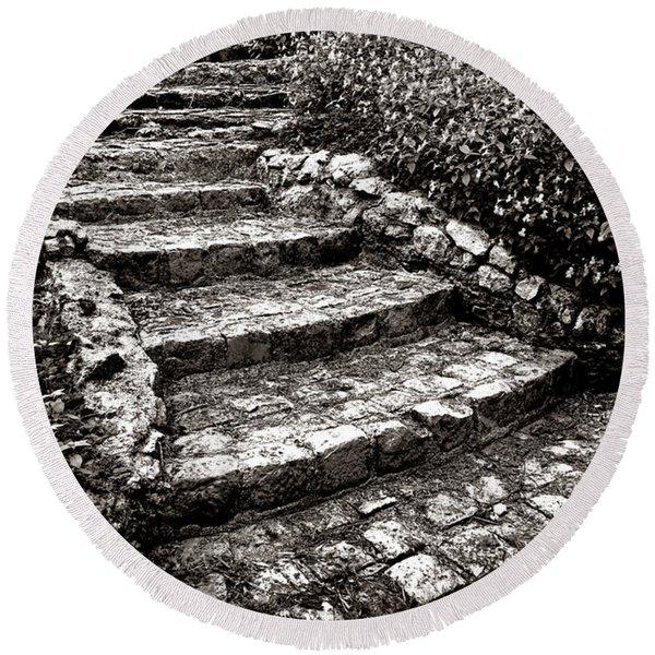 Steady Stone Stairs Round Beach Towel
