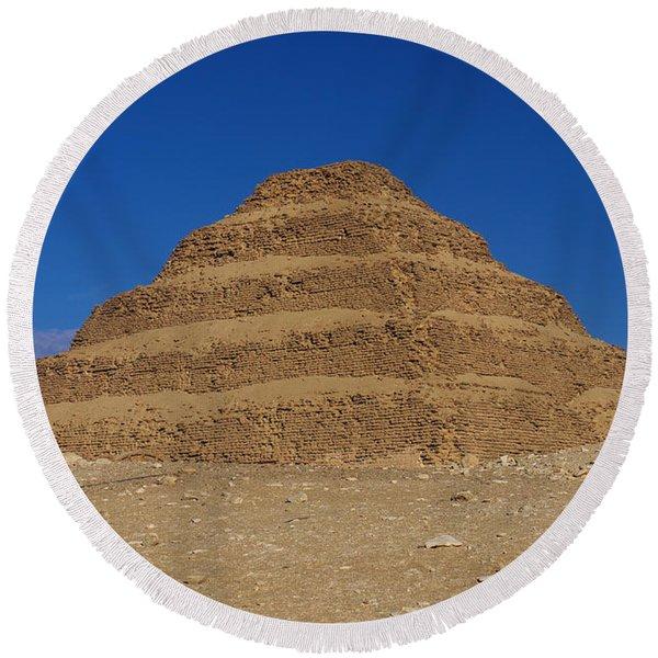 Step Pyramid Of King Djoser At Saqqara  Round Beach Towel