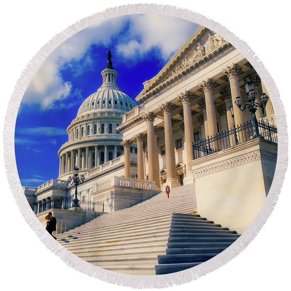 Steps To Senate Chambers At Us Capitol Round Beach Towel