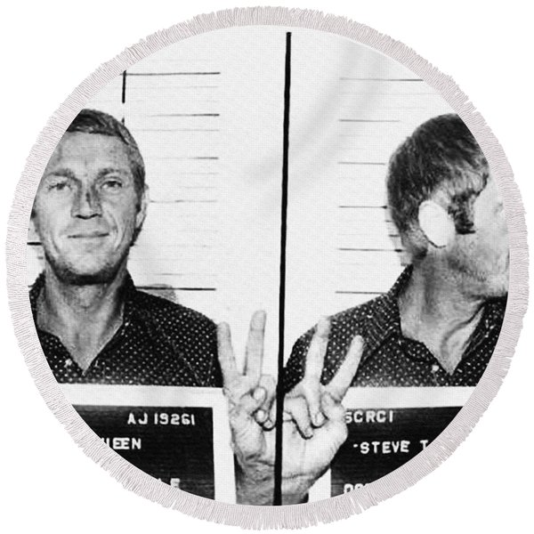 Round Beach Towel featuring the photograph Steve Mcqueen Mugshot by Digital Reproductions