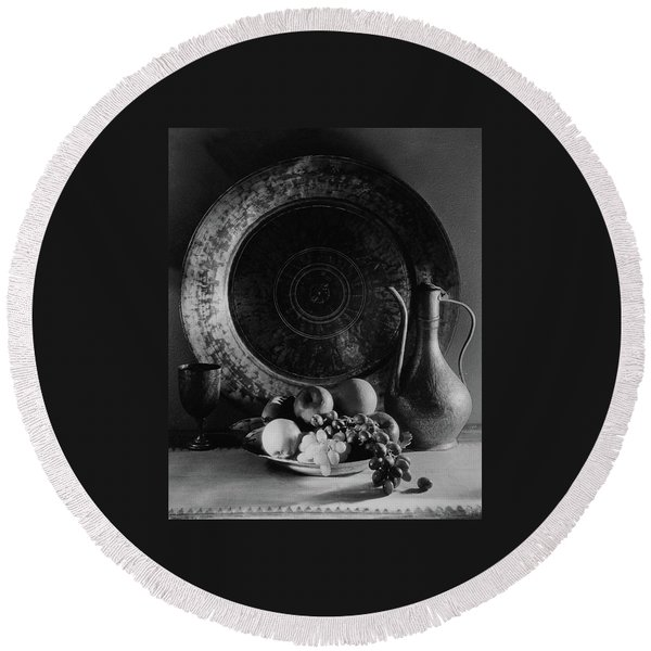 Still Life Of Armenian Plate And Other Round Beach Towel