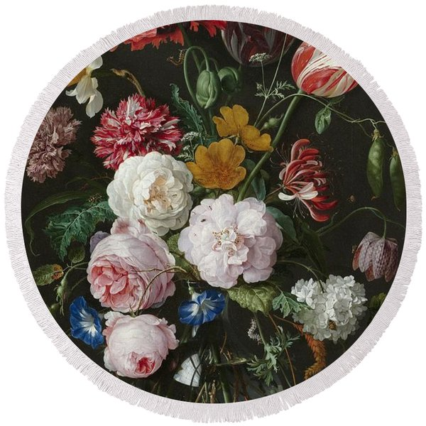 Still Life With Flowers In Glass Vase Round Beach Towel