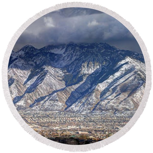 Storm Front Passes Over The Wasatch Mountains And Salt Lake Valley - Utah Round Beach Towel