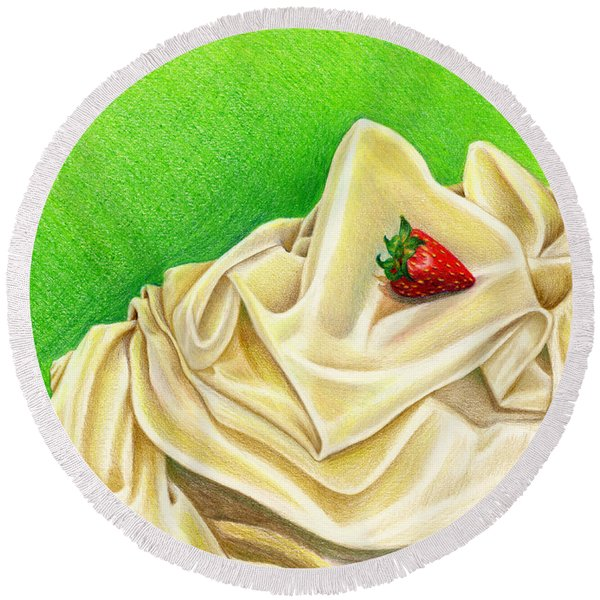 Round Beach Towel featuring the painting Strawberry Passion by Nancy Cupp