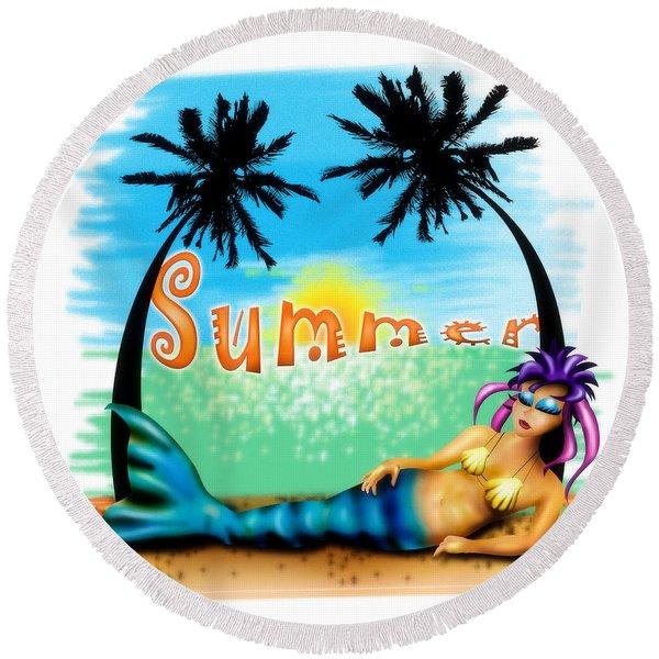 Summertime Round Beach Towel