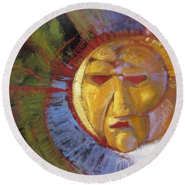 Sun Mask Round Beach Towel