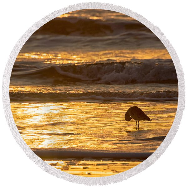 Round Beach Towel featuring the photograph Sun Salutation by Mary Lee Dereske