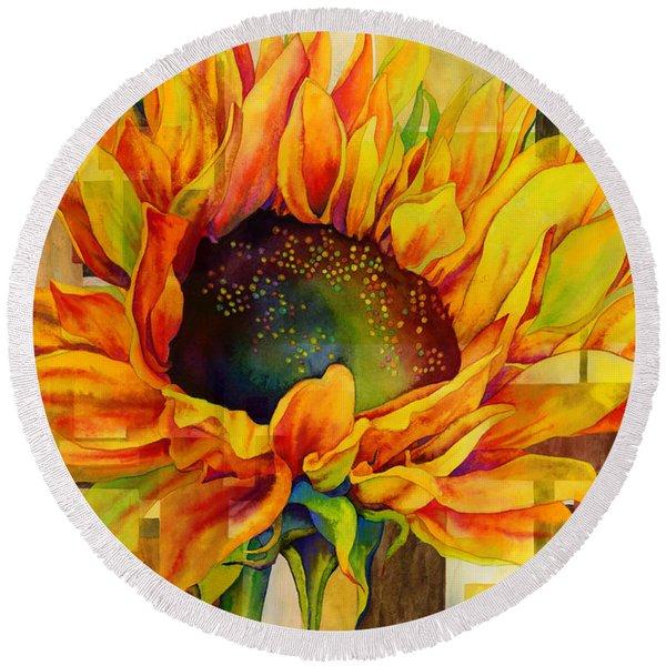 Sunflower Canopy Round Beach Towel