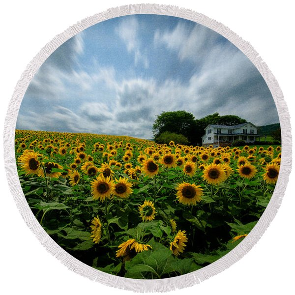 Sunflower Field Round Beach Towel