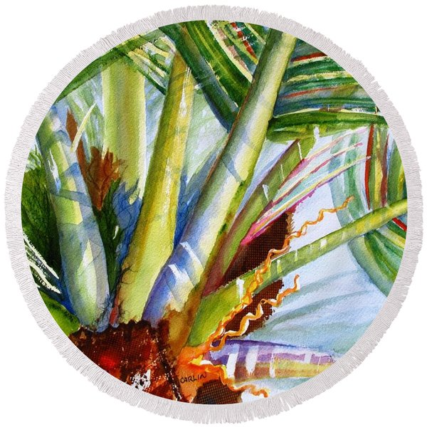 Sunlit Palm Fronds Round Beach Towel