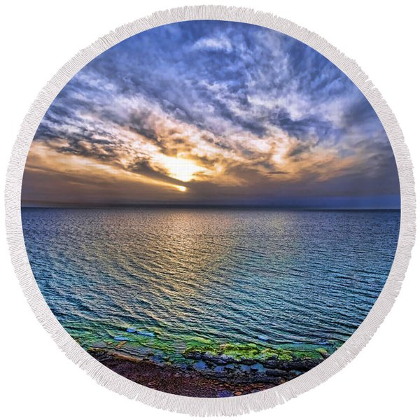 Sunset At The Cliff Beach Round Beach Towel