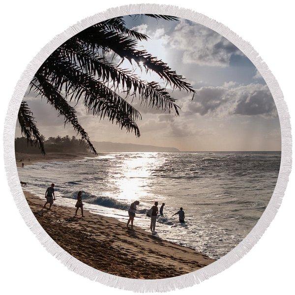 Sunset Beach Park Round Beach Towel