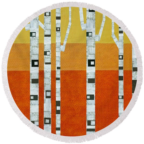 Sunset Birches Round Beach Towel