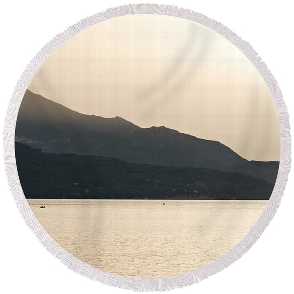 Sunset In Elba Island - Italy Round Beach Towel