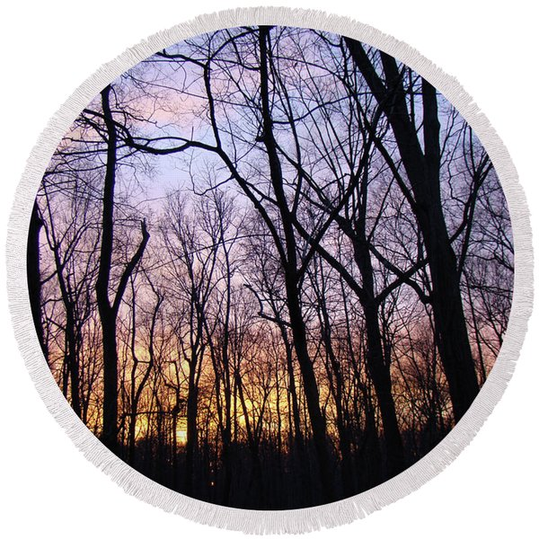 Sunset In The Forest Round Beach Towel