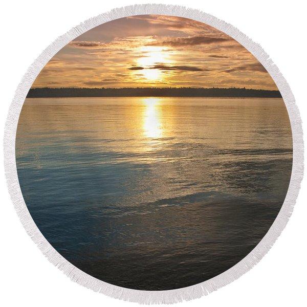 Sunset Over Puget Sound Round Beach Towel