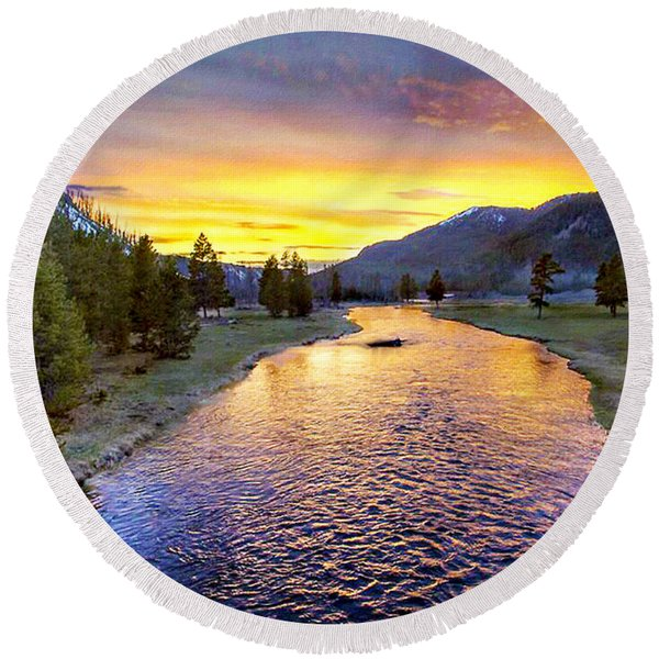 Sunset Yellowstone National Park Madison River Round Beach Towel