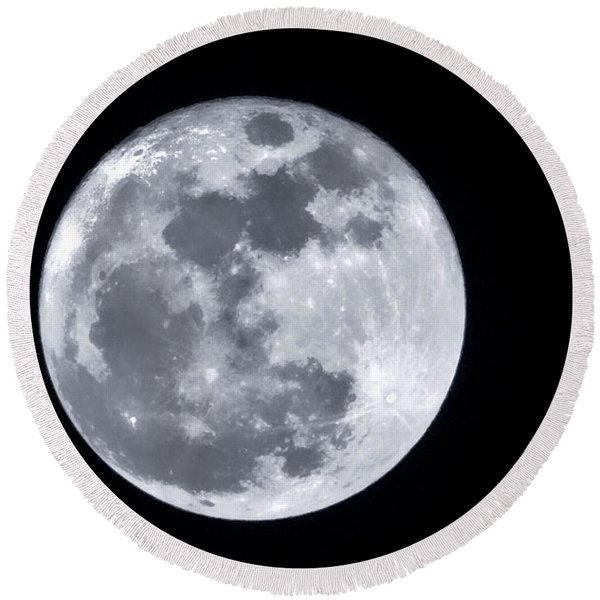 Super Moon Over Arizona  Round Beach Towel