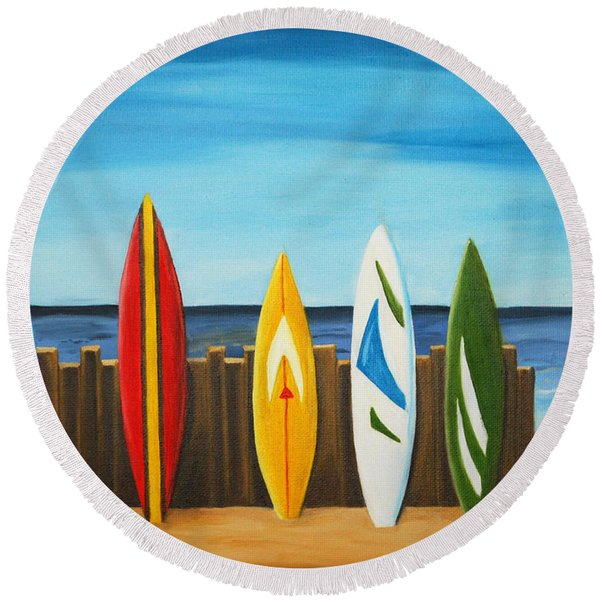 Surf On Round Beach Towel