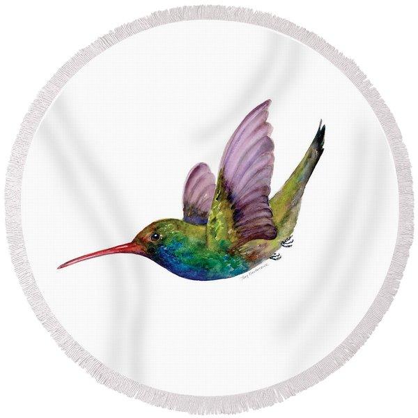 Swooping Broad Billed Hummingbird Round Beach Towel