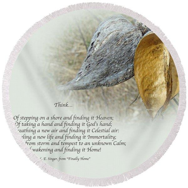 Sympathy Greeting Card - Poem And Milkweed Pods Round Beach Towel