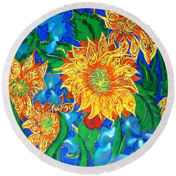 Symphony Of Sunflowers Round Beach Towel