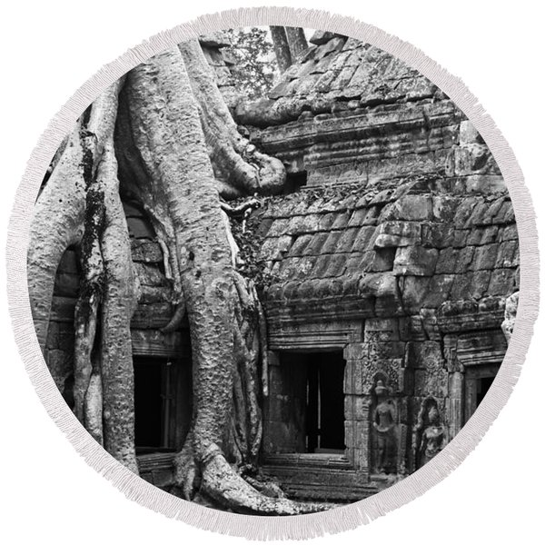 Ta Prohm Roots And Stone 01 Round Beach Towel