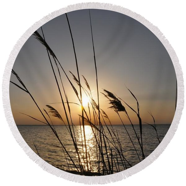 Round Beach Towel featuring the photograph Tall Grass Sunset by Bill Cannon