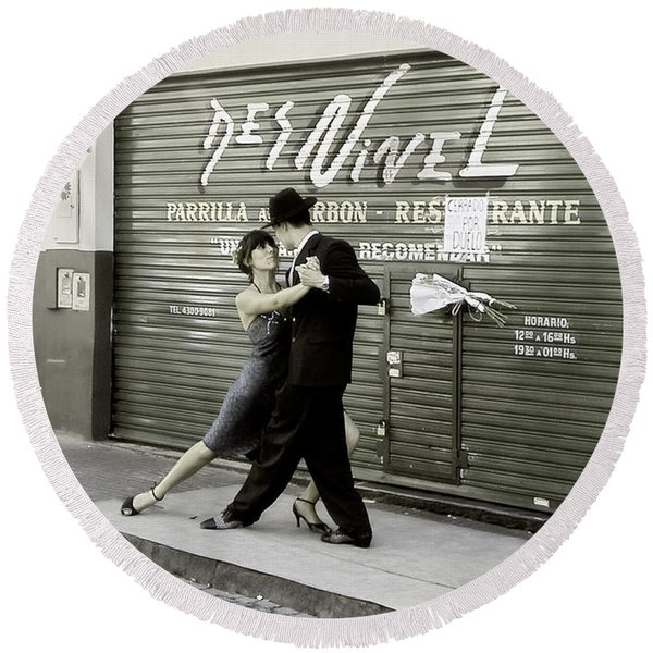 Tango On The Streets Of Buenos Aires- Argentina II Round Beach Towel