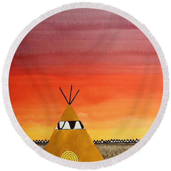 Tepee Or Not Tepee Original Painting Round Beach Towel
