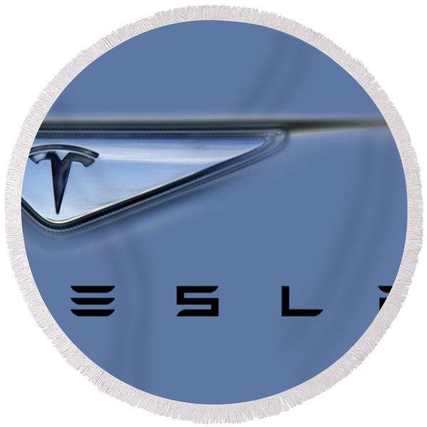 Tesla Artwork Round Beach Towel