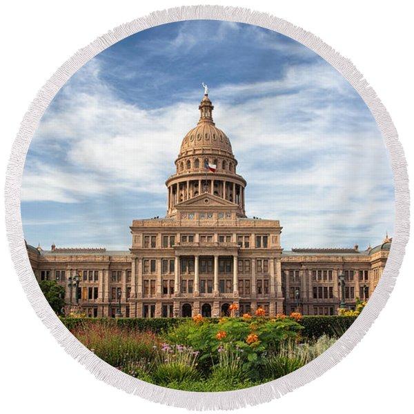 Texas State Capitol II Round Beach Towel
