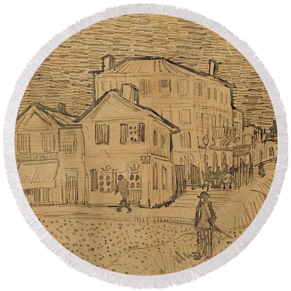 The Artists House In Arles Round Beach Towel