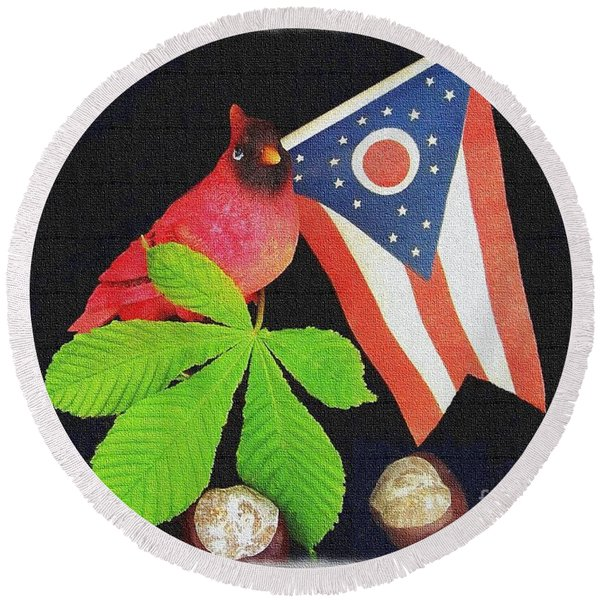 The Buckeye State Round Beach Towel