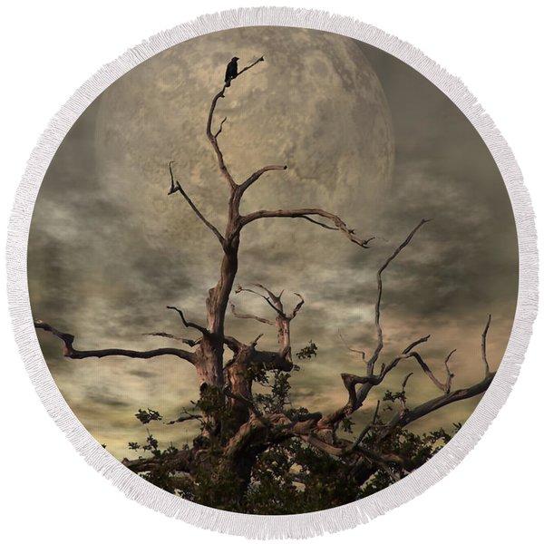 The Crow Tree Round Beach Towel