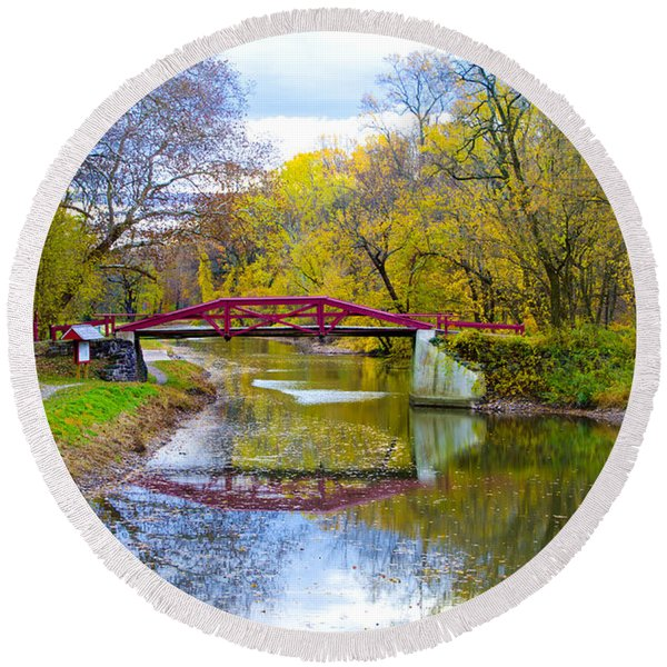 Round Beach Towel featuring the photograph The Delaware Canal Near New Hope Pa In Autumn by Bill Cannon