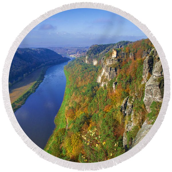 The Elbe Sandstone Mountains Along The Elbe River Round Beach Towel