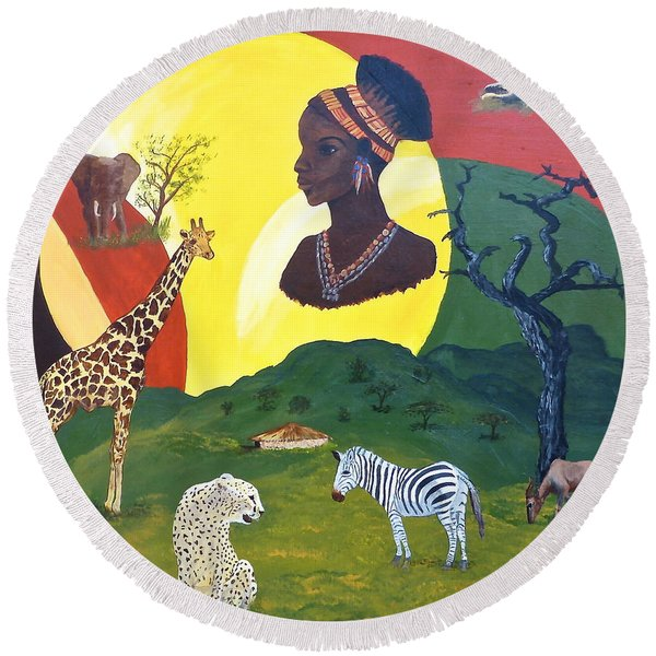 The Faces Of Africa Round Beach Towel