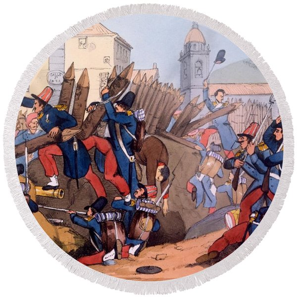 The French Legion Storming A Carlist Round Beach Towel