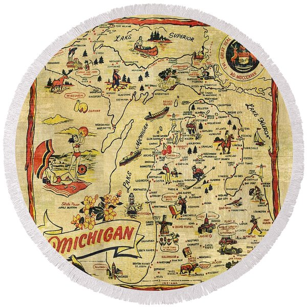 The Great Lakes State Round Beach Towel